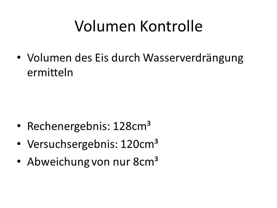 Volumen Kontrolle Volumen des Eis durch Wasserverdrängung ermitteln