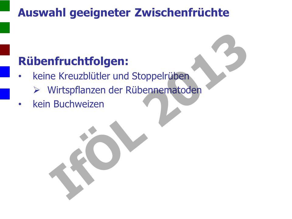 IfÖL 2013 Auswahl geeigneter Zwischenfrüchte Rübenfruchtfolgen: