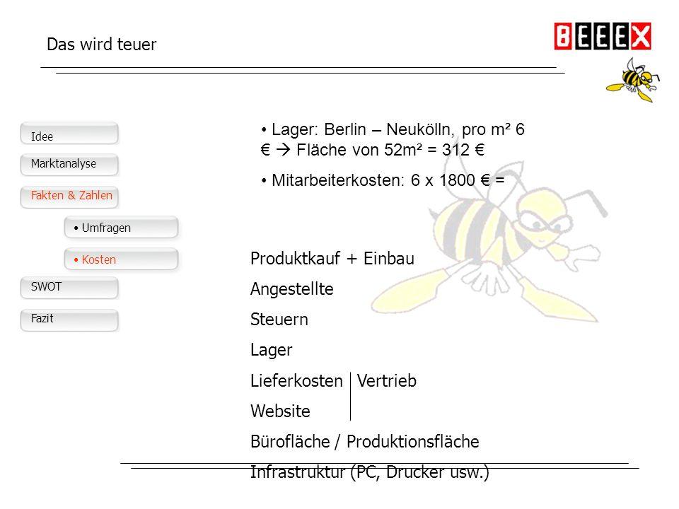 Lager: Berlin – Neukölln, pro m² 6 €  Fläche von 52m² = 312 €