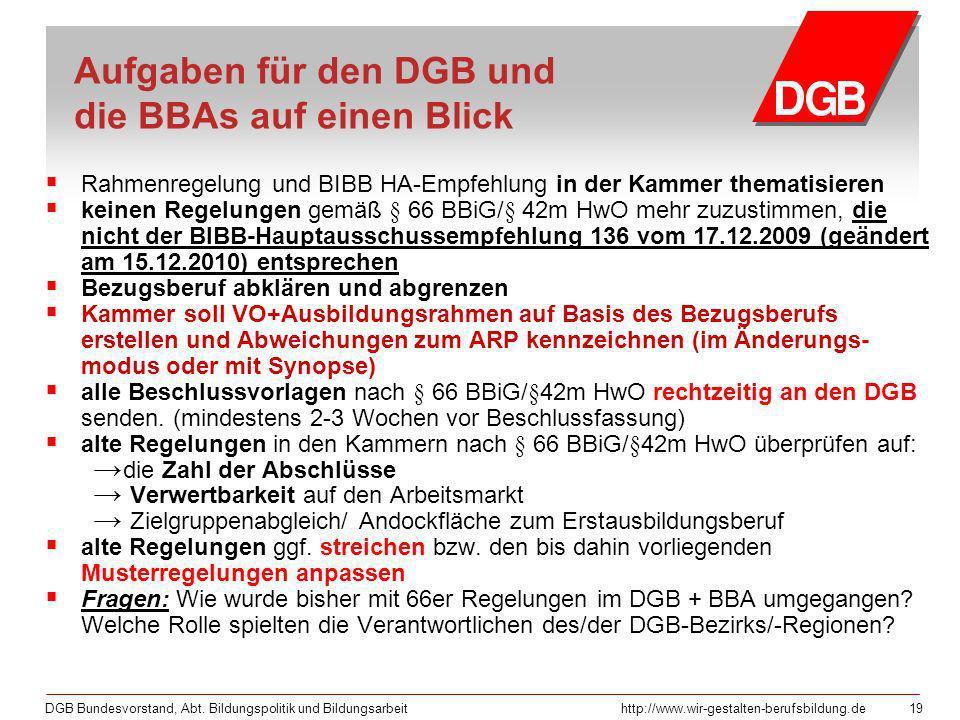 Aufgaben für den DGB und die BBAs auf einen Blick
