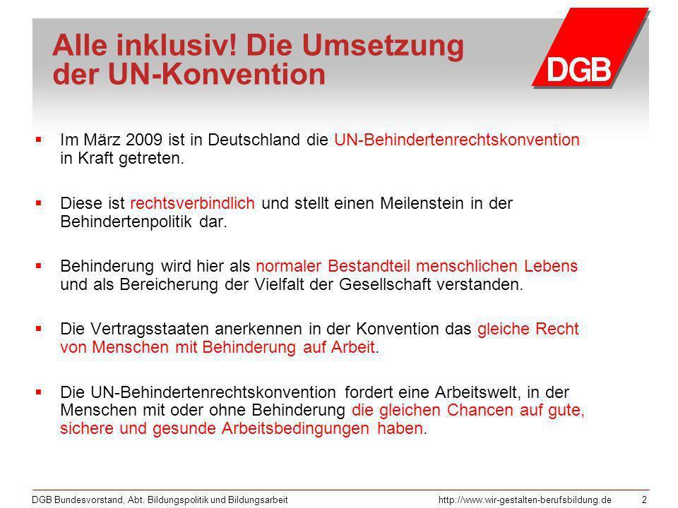 Alle inklusiv! Die Umsetzung der UN-Konvention