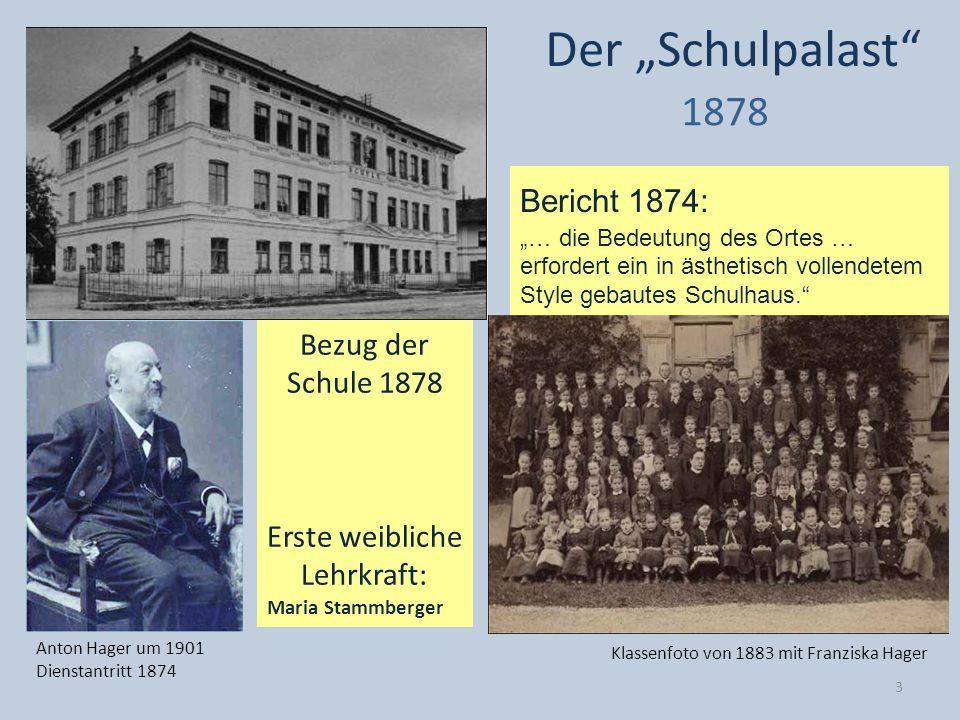"""Der """"Schulpalast 1878 Bericht 1874: Bezug der Schule 1878"""