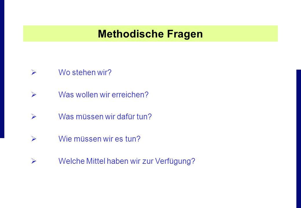 Methodische Fragen Wo stehen wir Was wollen wir erreichen