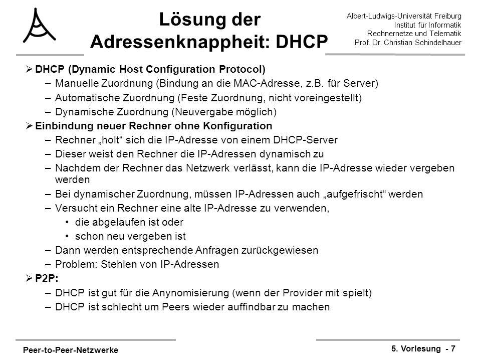 Lösung der Adressenknappheit: DHCP