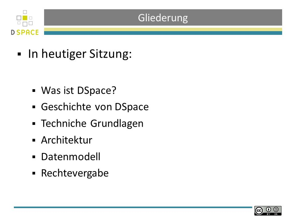 In heutiger Sitzung: Gliederung Was ist DSpace Geschichte von DSpace
