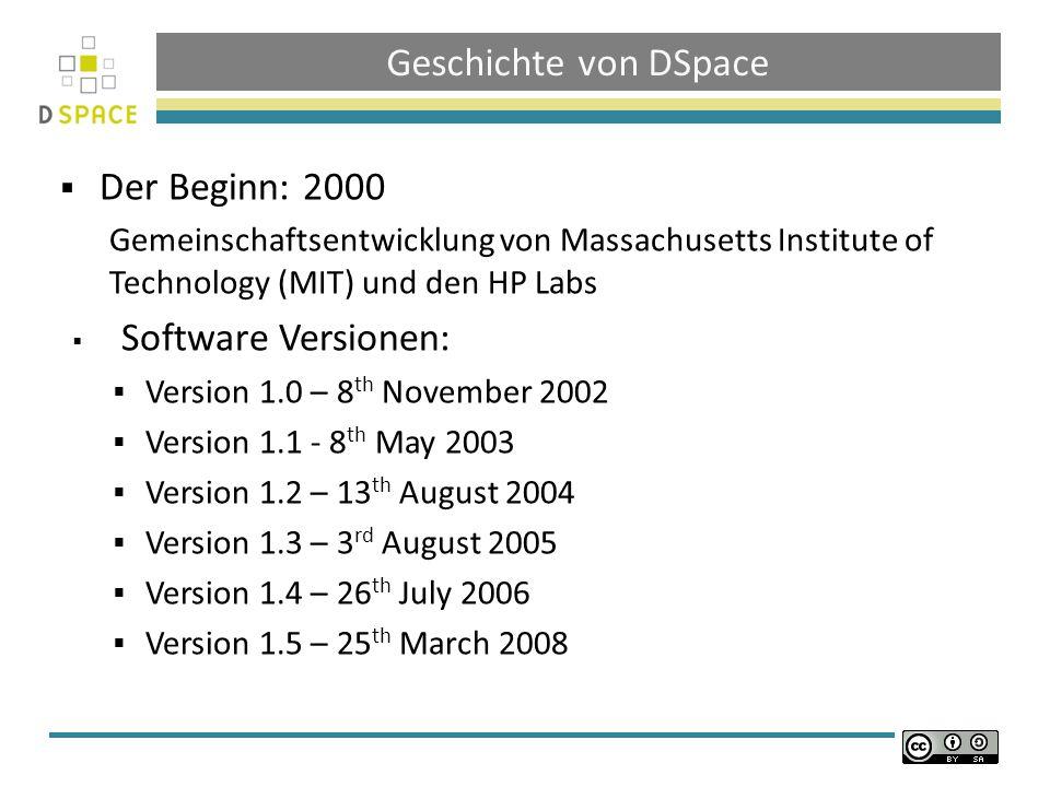 Geschichte von DSpace Der Beginn: 2000 Software Versionen: