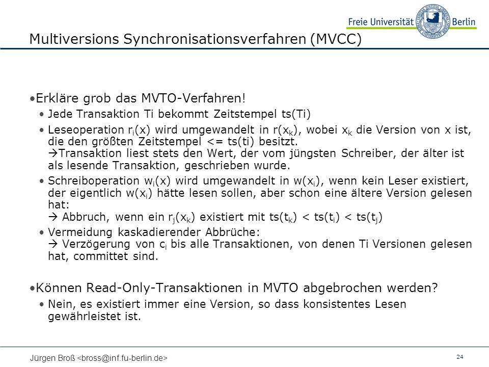 Multiversions Synchronisationsverfahren (MVCC)