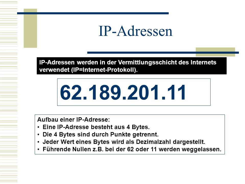 IP-Adressen IP-Adressen werden in der Vermittlungsschicht des Internets verwendet (IP=Internet-Protokoll).