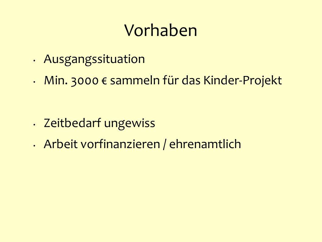Vorhaben Ausgangssituation Min. 3000 € sammeln für das Kinder-Projekt