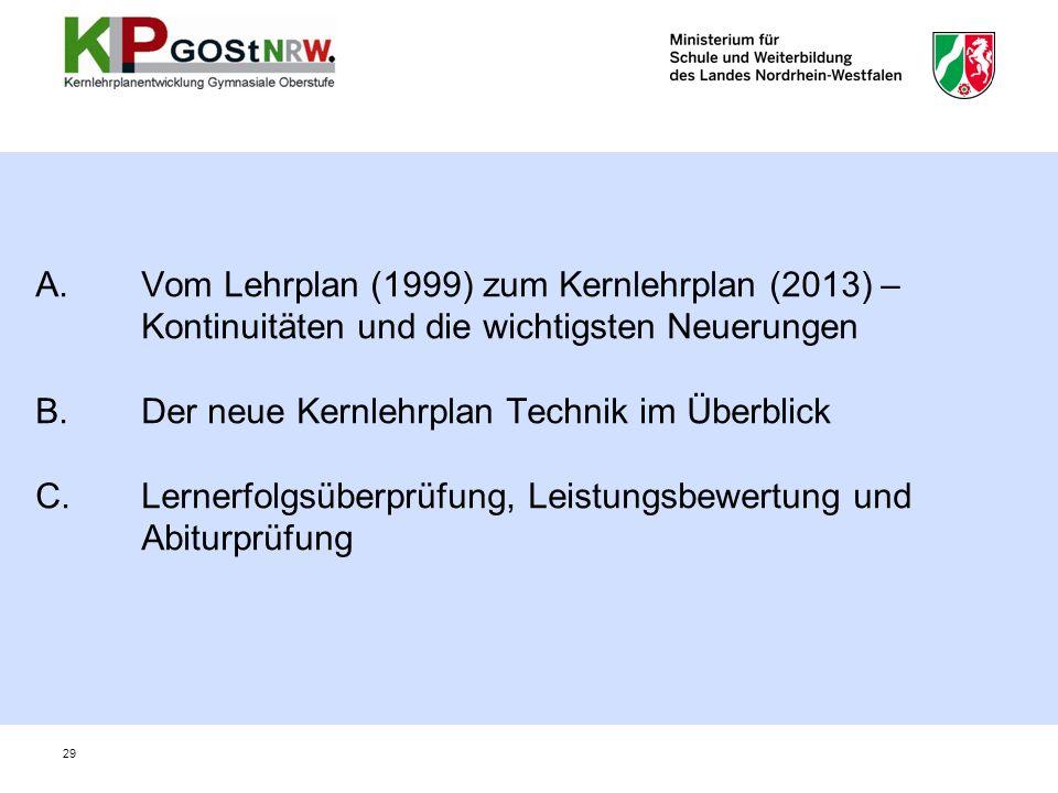 A. Vom Lehrplan (1999) zum Kernlehrplan (2013) –