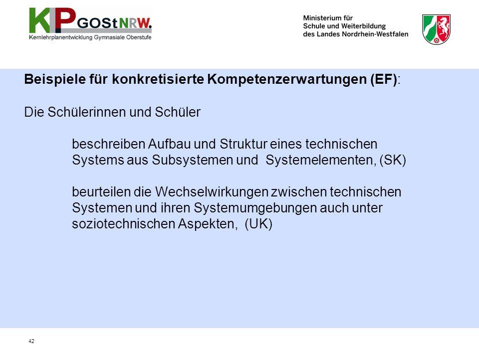 Beispiele für konkretisierte Kompetenzerwartungen (EF): Die Schülerinnen und Schüler beschreiben Aufbau und Struktur eines technischen Systems aus Subsystemen und Systemelementen, (SK) beurteilen die Wechselwirkungen zwischen technischen Systemen und ihren Systemumgebungen auch unter soziotechnischen Aspekten, (UK)