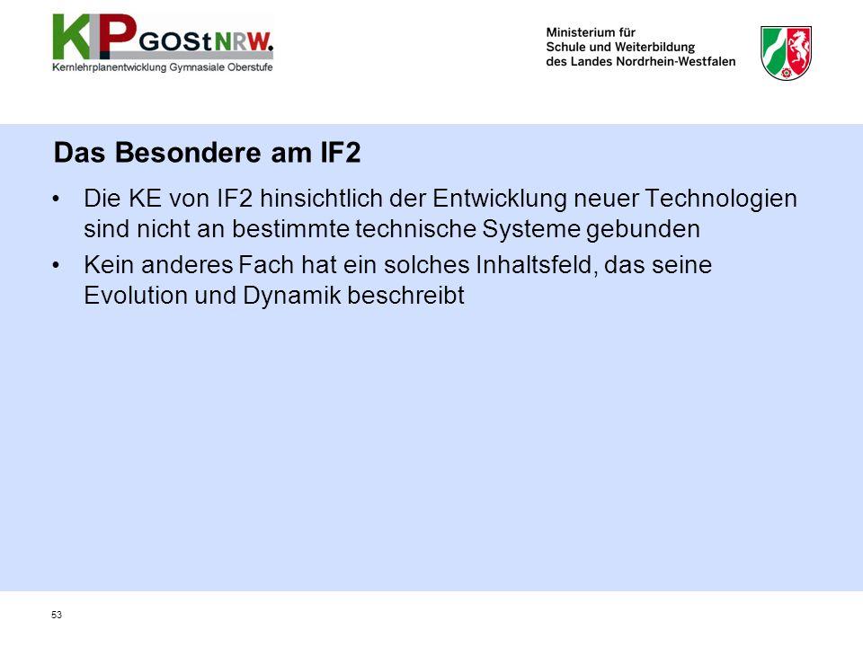 Das Besondere am IF2 Die KE von IF2 hinsichtlich der Entwicklung neuer Technologien sind nicht an bestimmte technische Systeme gebunden.