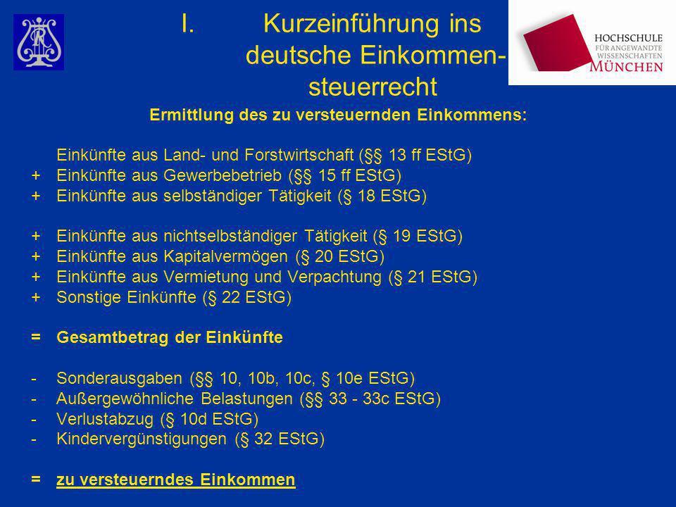 Kurzeinführung ins deutsche Einkommen- steuerrecht