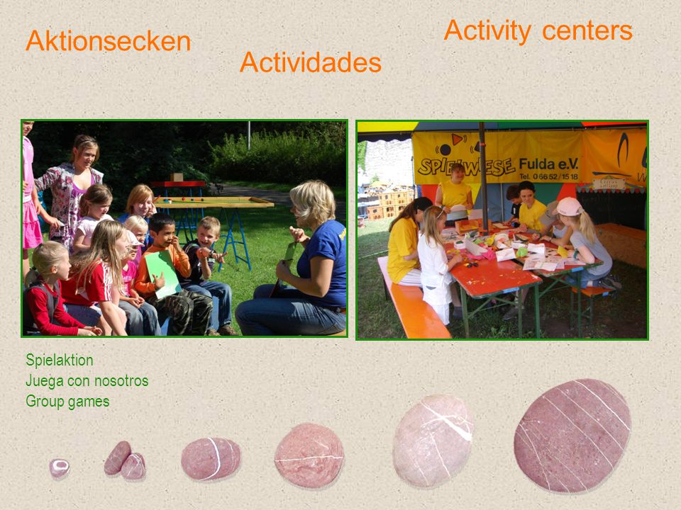 Activity centers Aktionsecken Actividades Spielaktion