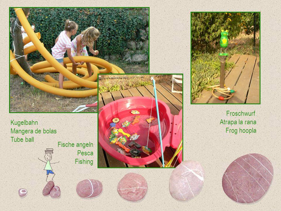 Froschwurf Atrapa la rana. Frog hoopla. Kugelbahn. Mangera de bolas. Tube ball. Fische angeln.
