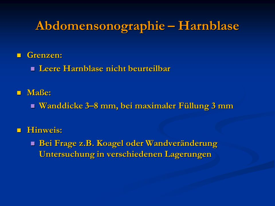 Abdomensonographie – Harnblase