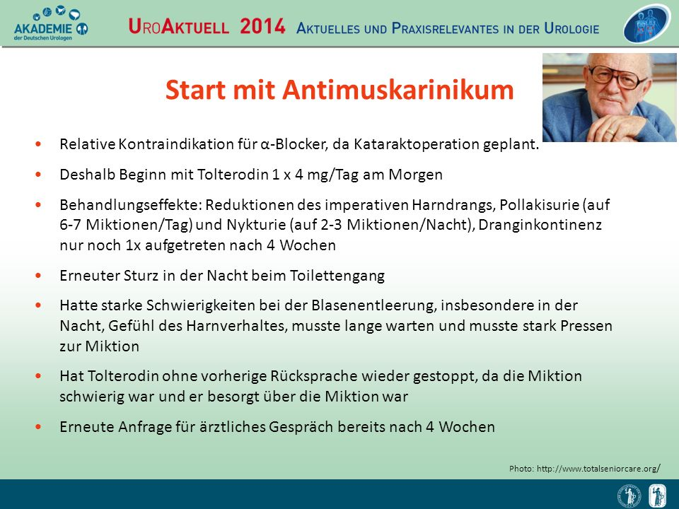 Start mit Antimuskarinikum