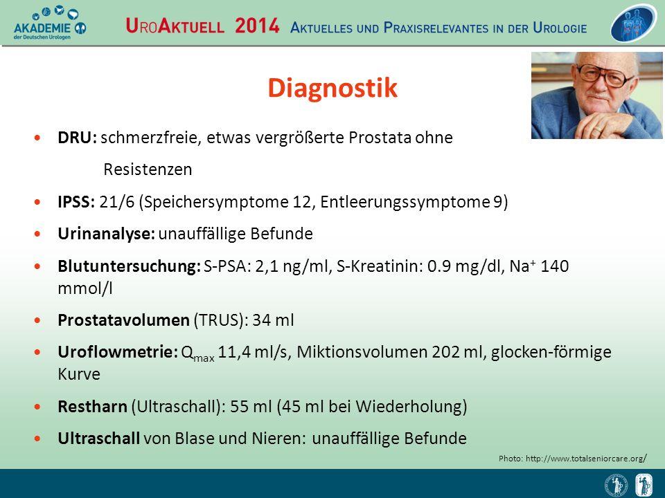 Diagnostik DRU: schmerzfreie, etwas vergrößerte Prostata ohne