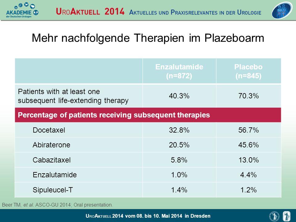Mehr nachfolgende Therapien im Plazeboarm