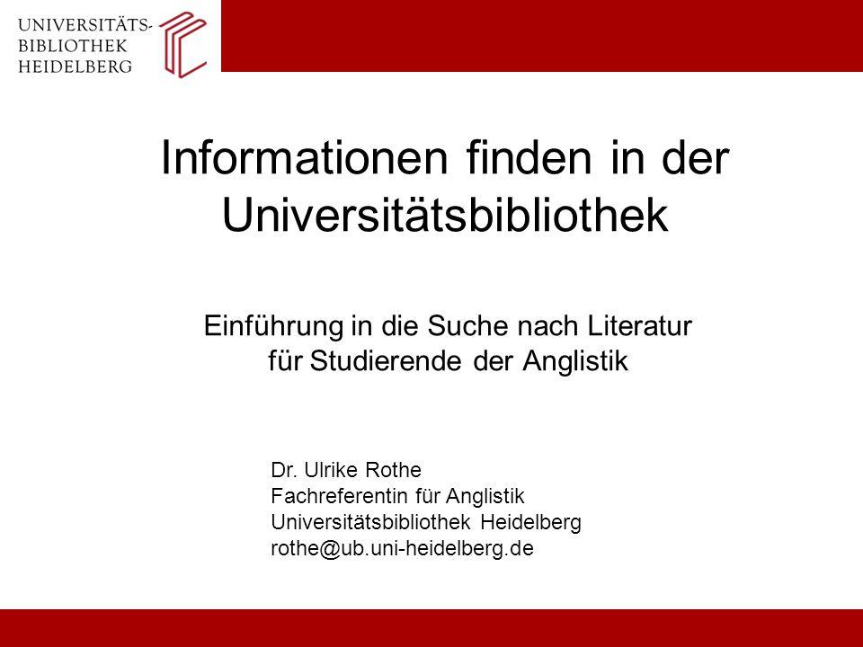 Informationen finden in der Universitätsbibliothek