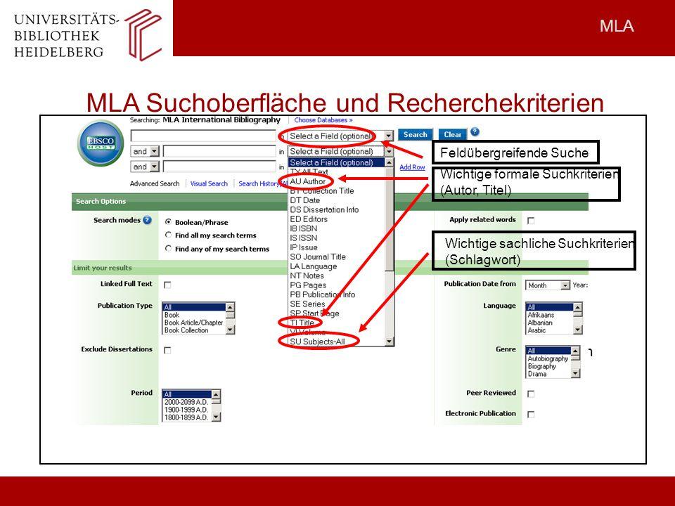 MLA Suchoberfläche und Recherchekriterien
