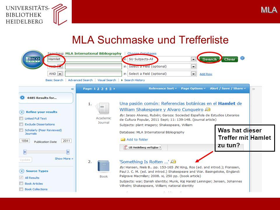 MLA Suchmaske und Trefferliste