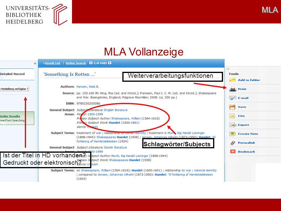 MLA Vollanzeige MLA Weiterverarbeitungsfunktionen