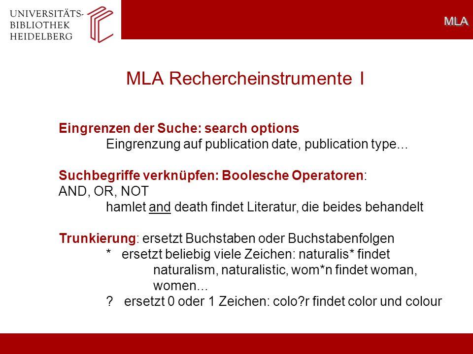 MLA Rechercheinstrumente I