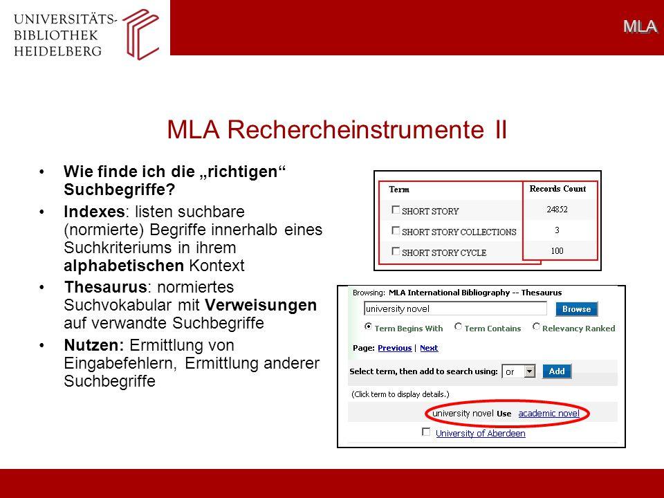 MLA Rechercheinstrumente II