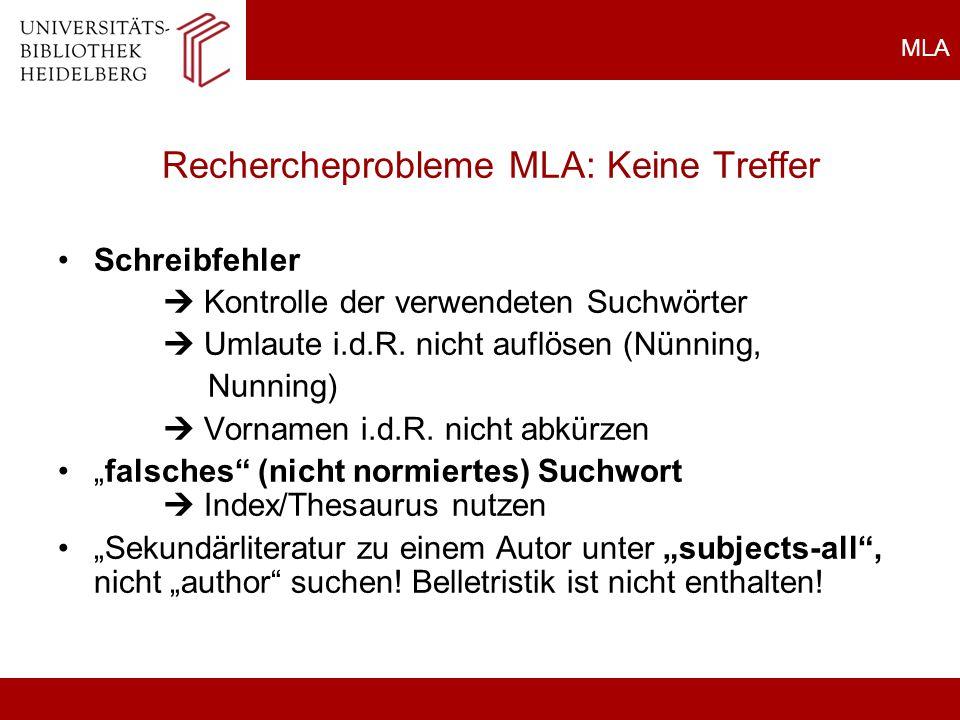 Rechercheprobleme MLA: Keine Treffer