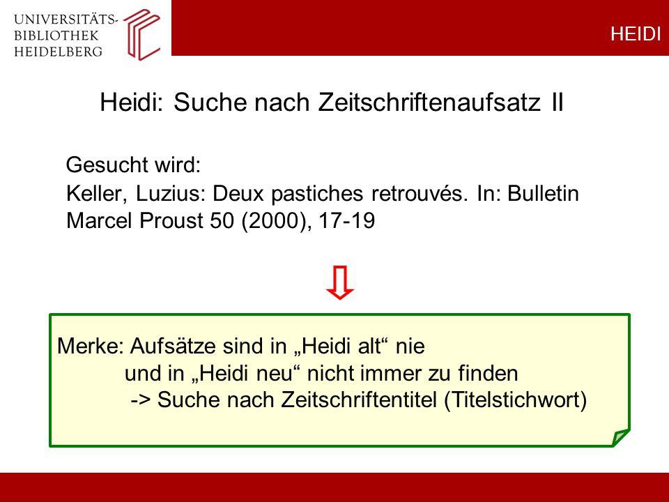 Heidi: Suche nach Zeitschriftenaufsatz II