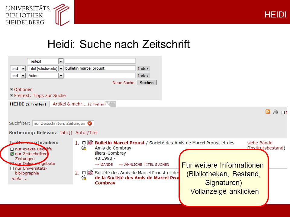 Heidi: Suche nach Zeitschrift