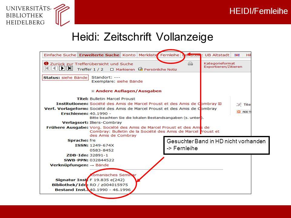 Heidi: Zeitschrift Vollanzeige