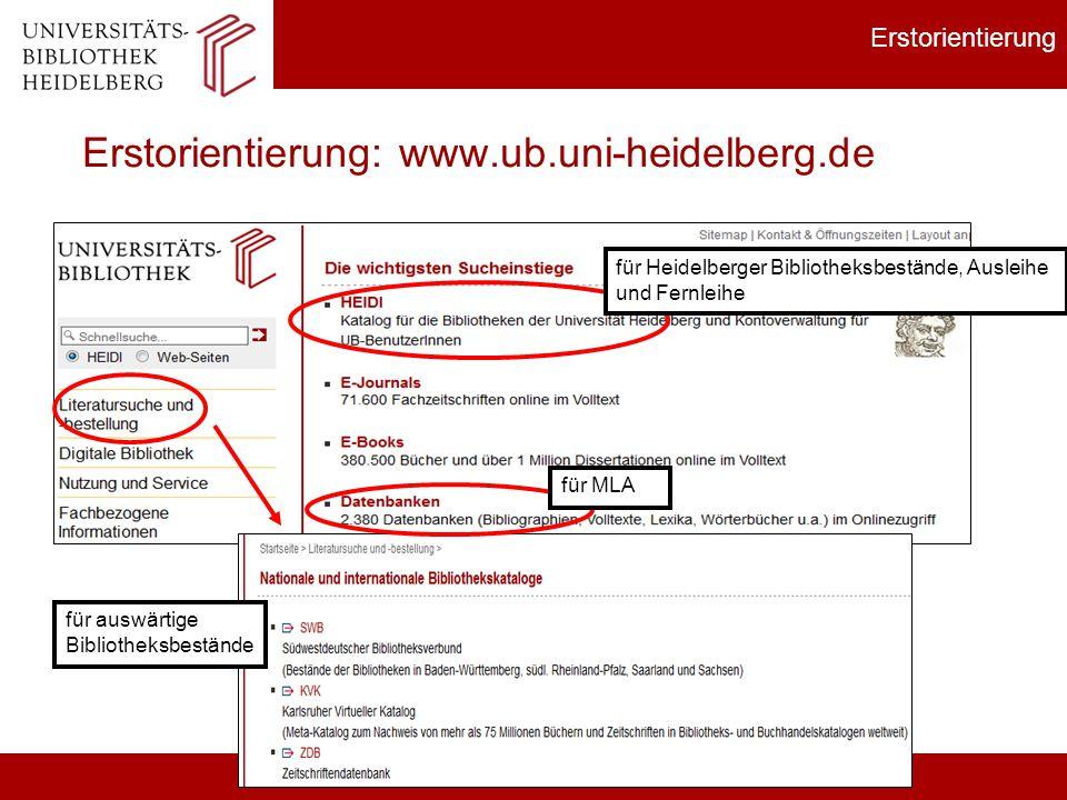 Erstorientierung: www.ub.uni-heidelberg.de