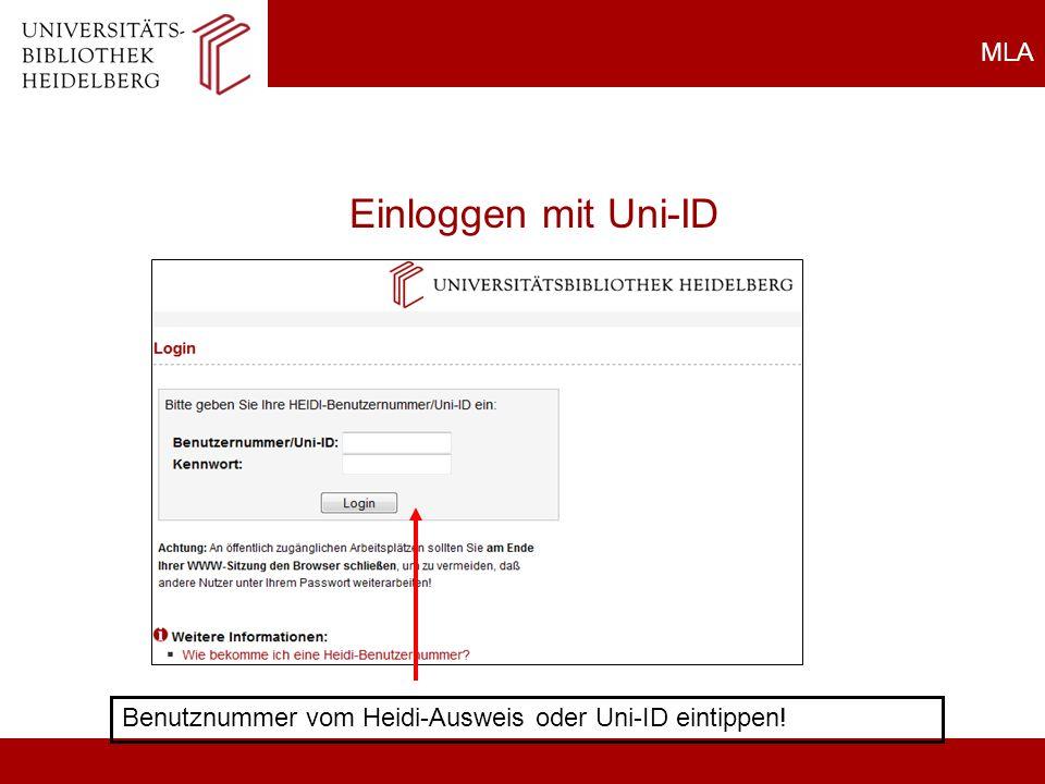 Einloggen mit Uni-ID MLA Allgemeines zu Datenbanken
