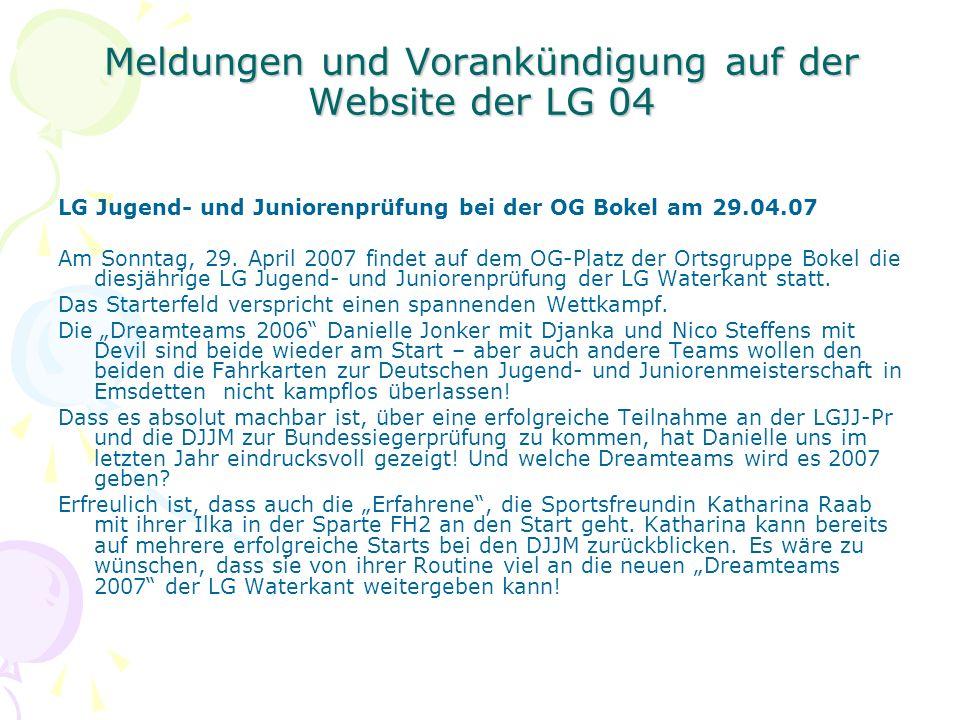 Meldungen und Vorankündigung auf der Website der LG 04