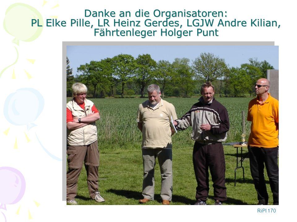 Danke an die Organisatoren: PL Elke Pille, LR Heinz Gerdes, LGJW Andre Kilian, Fährtenleger Holger Punt