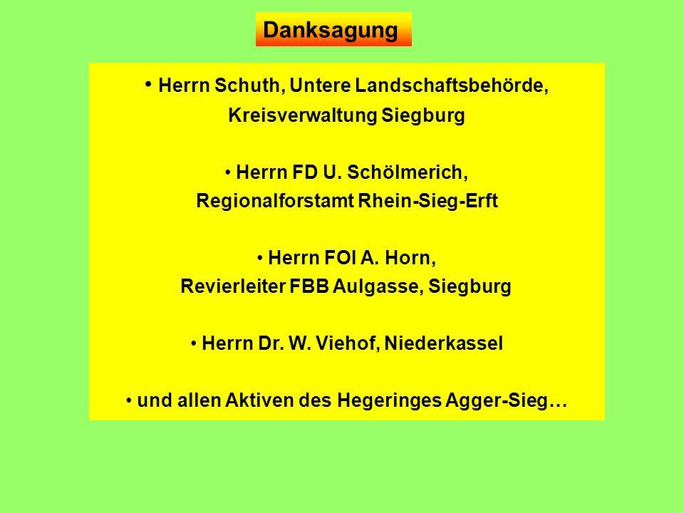 Herrn Schuth, Untere Landschaftsbehörde, Kreisverwaltung Siegburg