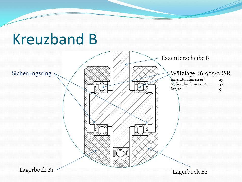 Kreuzband B Exzenterscheibe B Sicherungsring Wälzlager: 61905-2RSR