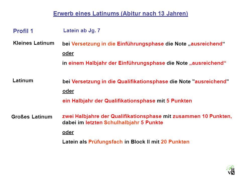 Erwerb eines Latinums (Abitur nach 13 Jahren)