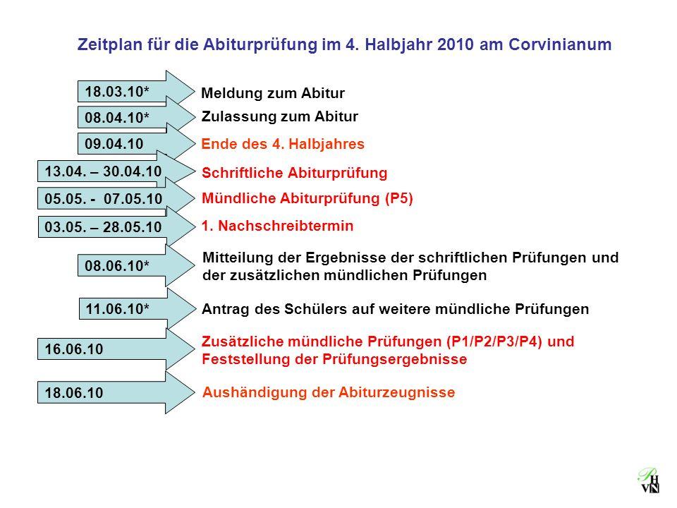 Zeitplan für die Abiturprüfung im 4. Halbjahr 2010 am Corvinianum