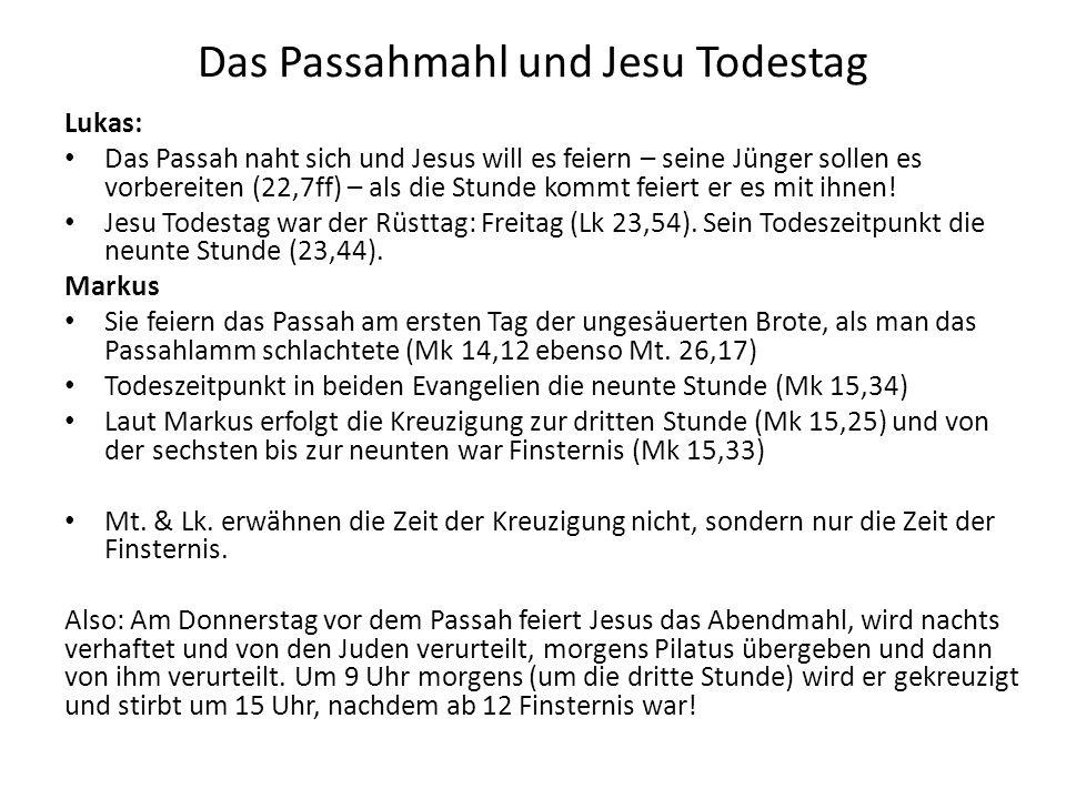 Das Passahmahl und Jesu Todestag