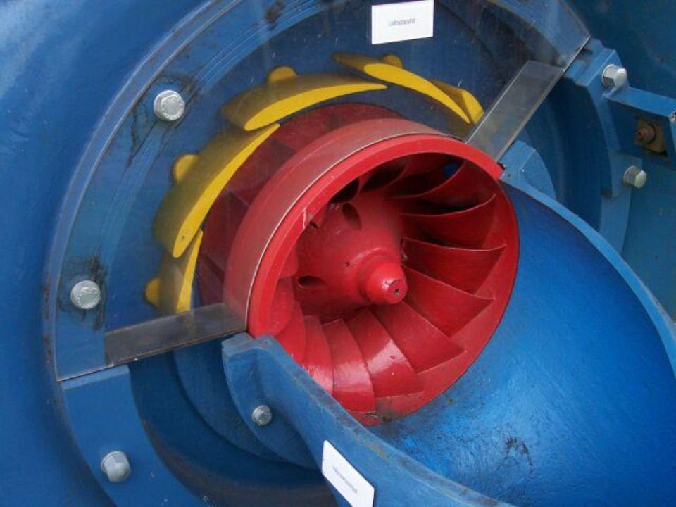 So stehen die Leitschaufeln, wenn sie auf minimale Leistung eingestellt sind und wenig Wasser durchlassen. Dies ist wichtig, um eine gleiche Umdrehungszahl des Generators zu gewährleisten. Es kann aber auch zur Leistungsregelung genutzt werden, damit auch bei Niedrigwasserständen die Lageenergie sinnvoll genutzt werden kann. Diese Turbine erzielt Wirkungsgrade von bis zu 90%.