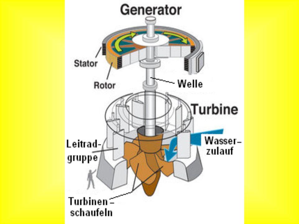Das Wasser wird wie bei der Francis Turbine durch Leitschaufeln geleitet, die das Wasser bei dieser Turbinenart wie bei der Francis Turbine in entgegengesetzter Richtung auf das Laufrad leiten.