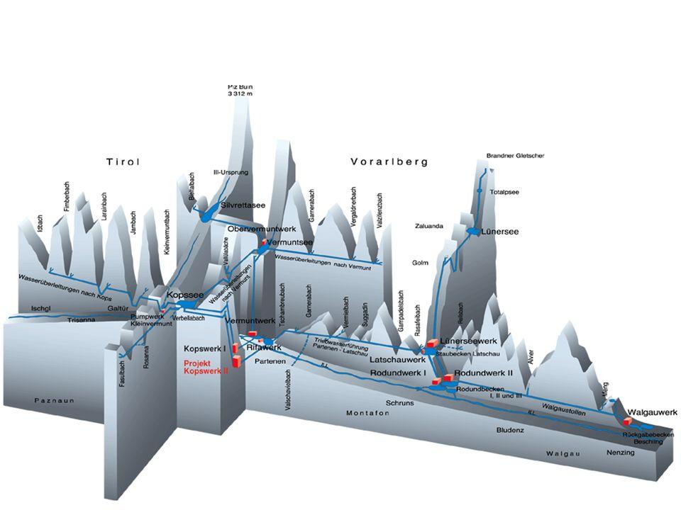 Auf diesem Bild sind einige große Speicher- und Pumpspeicherkraftwerke im Vorarlberg zu erkennen.