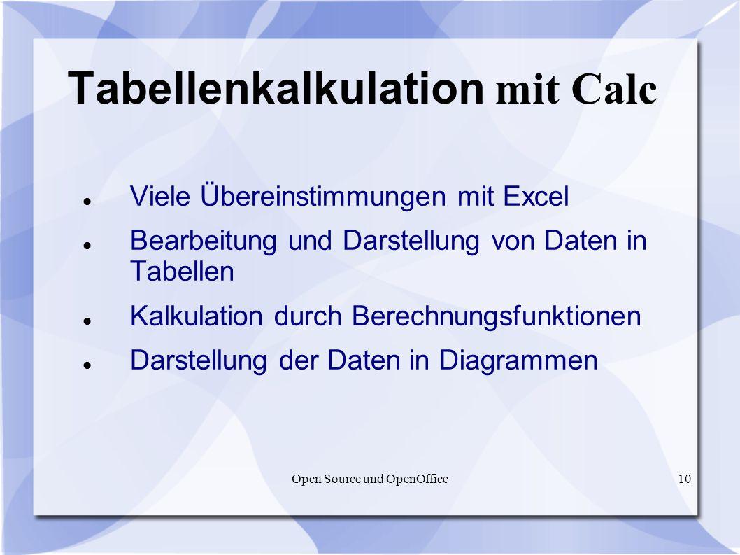 Tabellenkalkulation mit Calc