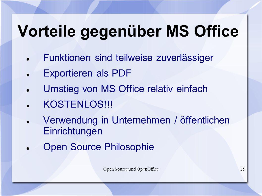 Vorteile gegenüber MS Office