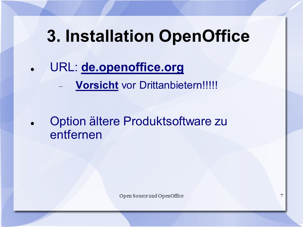 3. Installation OpenOffice