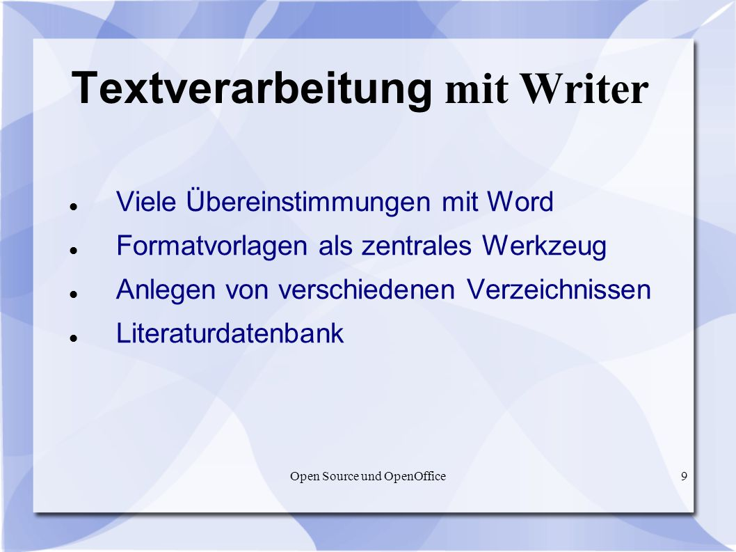 Textverarbeitung mit Writer