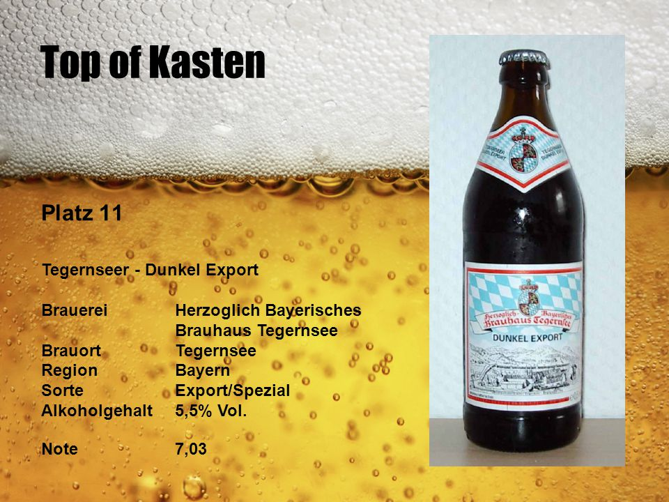 Top of Kasten Platz 11 Tegernseer - Dunkel Export